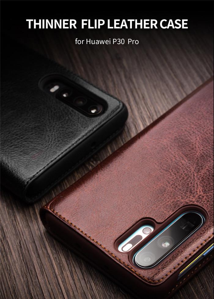 Bao da Huawei P30 Pro Qialino Classic Laether Wallet da thật Hanmade 5