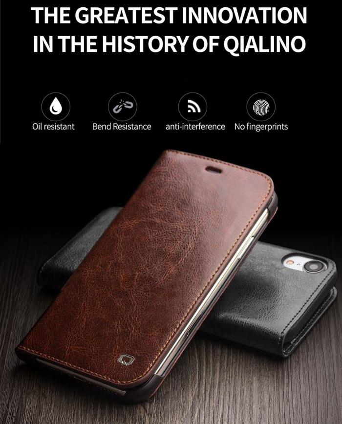Bao da iPhone Xr Qialino Classic Leather Hanmade da thật - sang trọng 1
