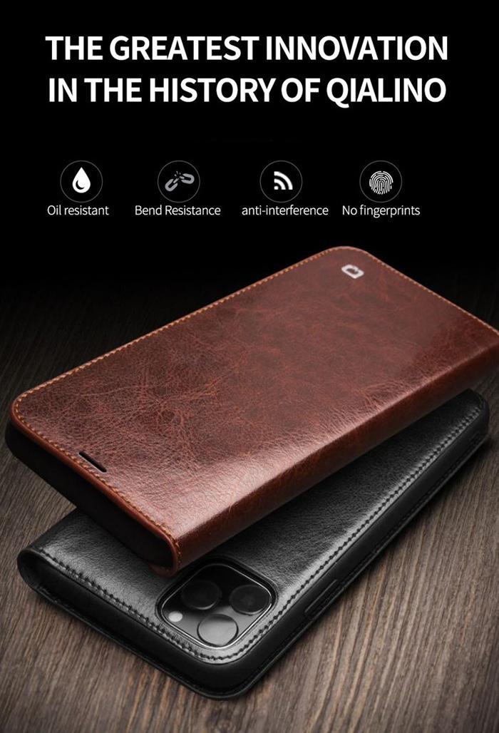 Bao da iPhone 11 Pro Max Qialino Classic Leather Hanmade da thật 1