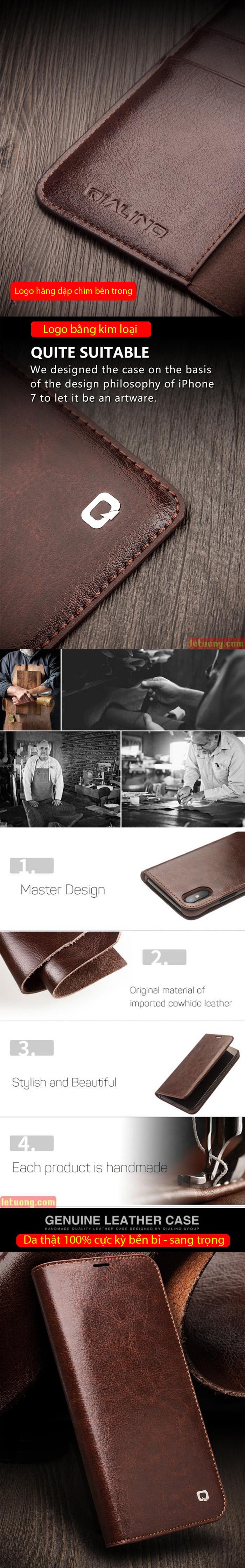 Bao da iPhone 11 Pro Max Qialino Classic Leather Hanmade da thật 7