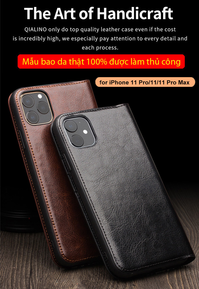 Bao da iPhone 11 Pro Max Qialino Classic Leather Hanmade da thật 6