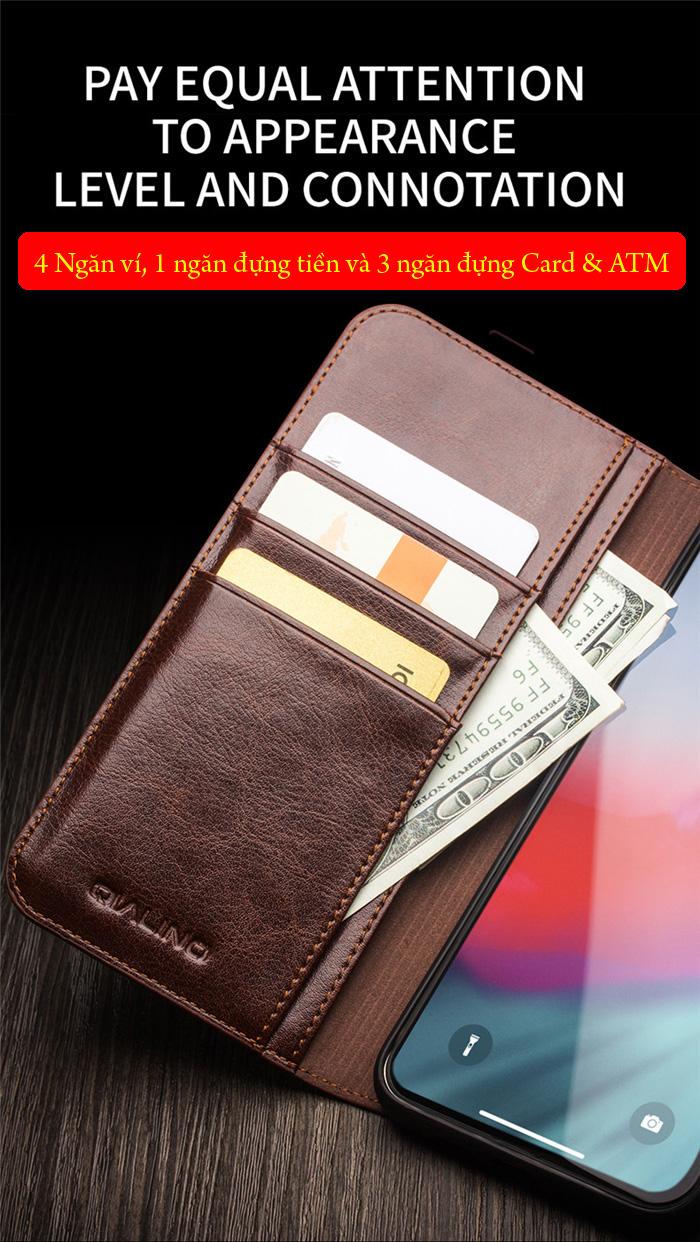 Bao da iPhone 11 Pro Max Qialino Classic Leather Hanmade da thật 5