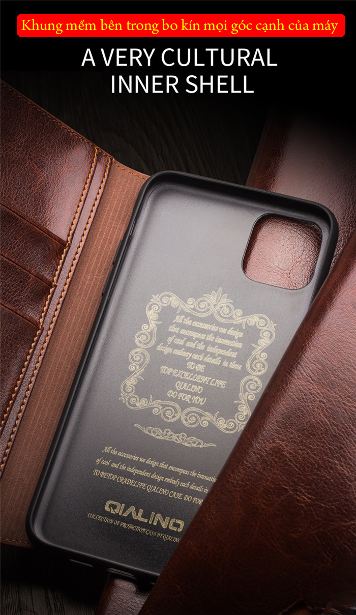 Bao da iPhone 11 Pro Qialino Classic Leather Hanmade da thật 3