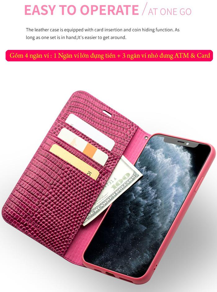 Bao da iPhone 11 Pro Qialino Crocodile Hanmade da thật 4