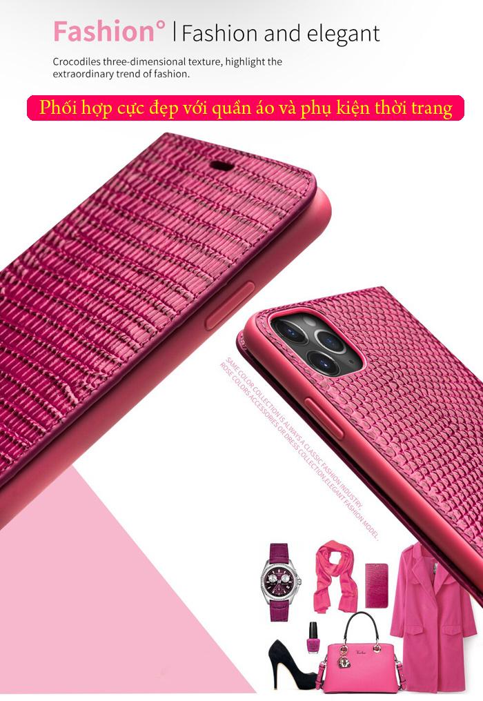 Bao da iPhone 11 Pro Qialino Crocodile Hanmade da thật 1