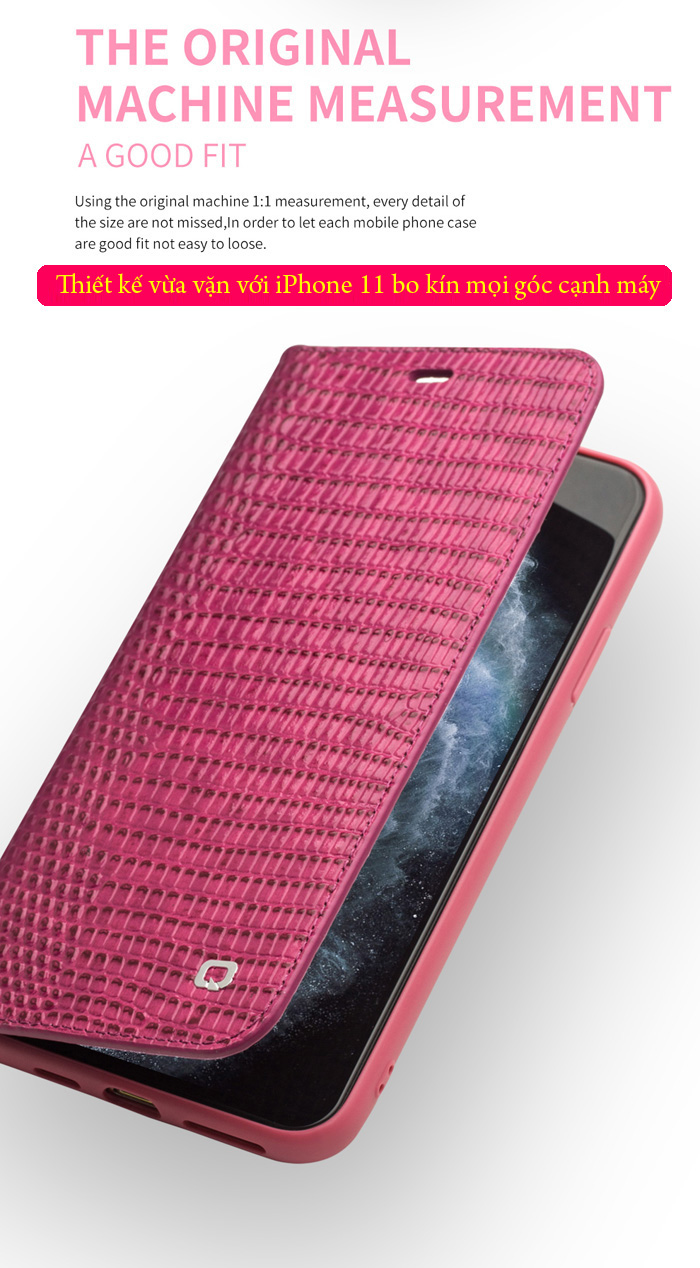 Bao da iPhone 11 Qialino Crocodile Hanmade da thật 3