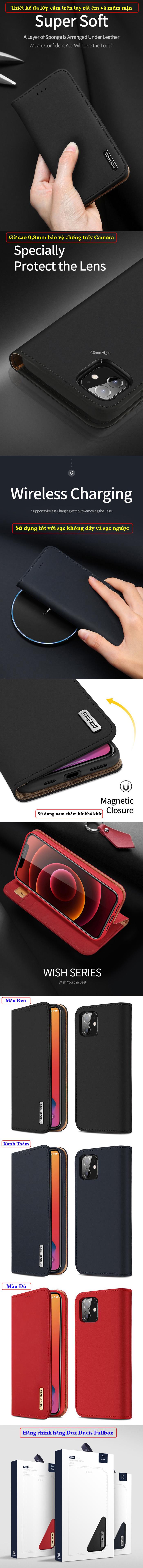 Bao da iPhone 12 / 12 Pro Dux Ducis Wish Genuine Leather Vintage cổ điển 6