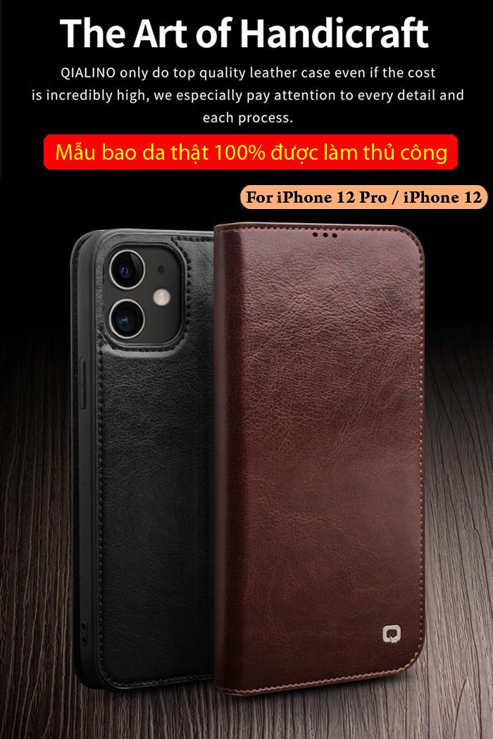 Bao da iPhone 12 / 12 Pro Qialino Classic Leather Hanmade da thật 1