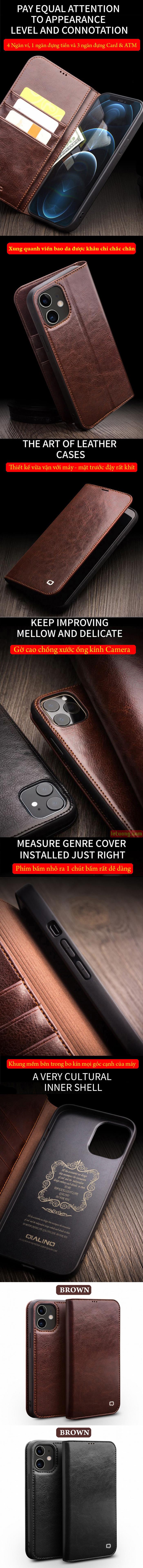 Bao da iPhone 12 Pro, iPhone 12 Qialino Classic Leather Hanmade da thật 7