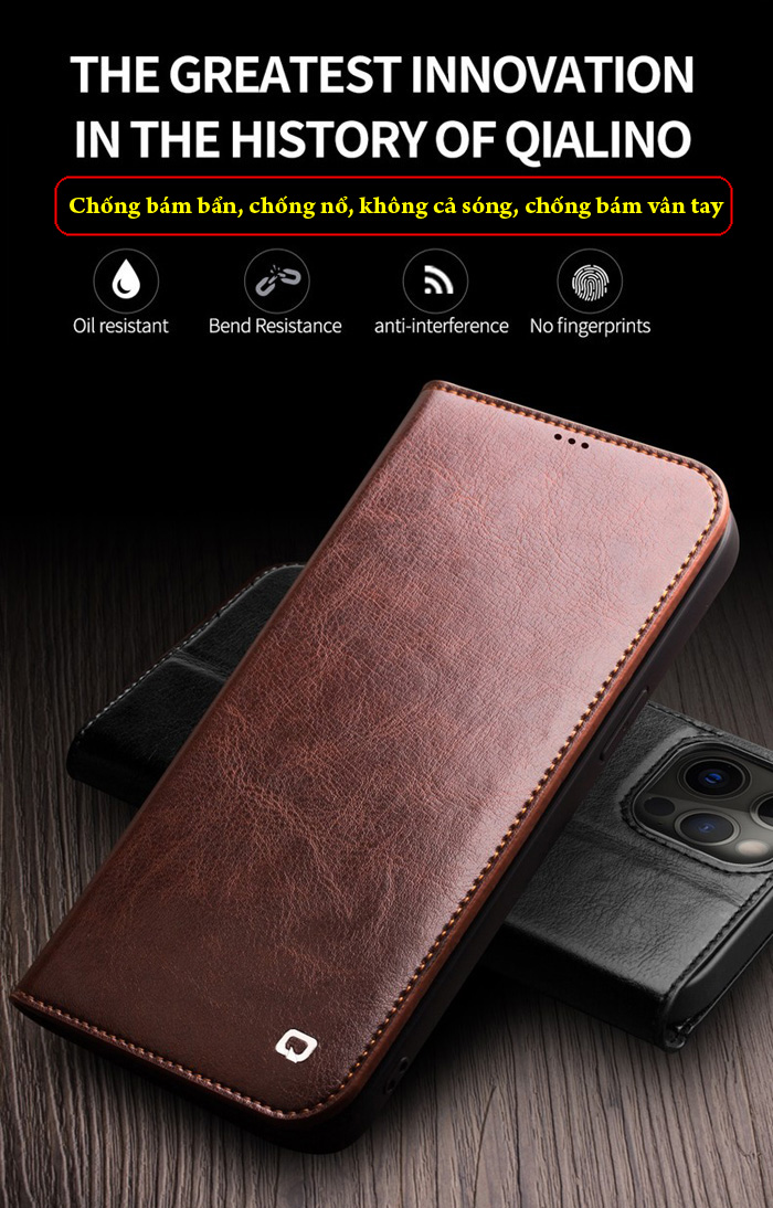 Bao da iPhone 12 / 12 Pro Qialino Classic Leather Hanmade da thật 6