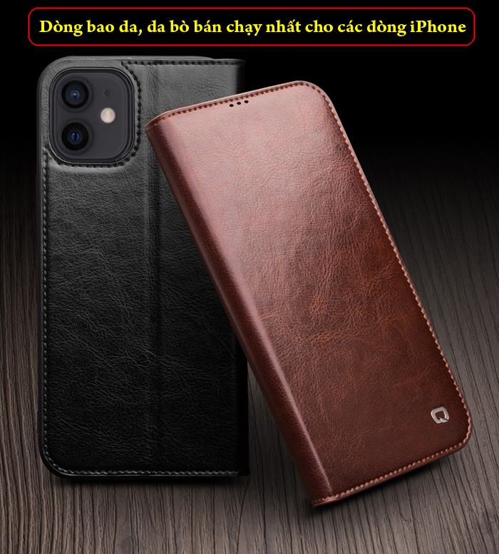 Bao da iPhone 12 / 12 Pro Qialino Classic Leather Hanmade da thật 5
