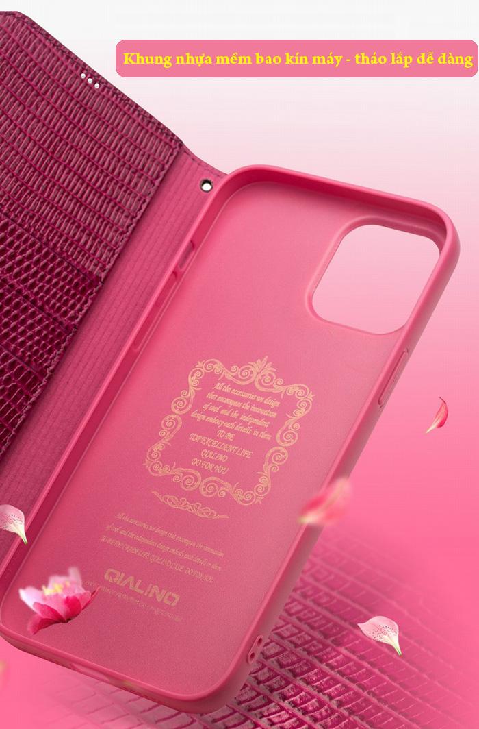 Bao da iPhone 12 / 12 Pro Qialino Crocodile Hanmade da thật 12