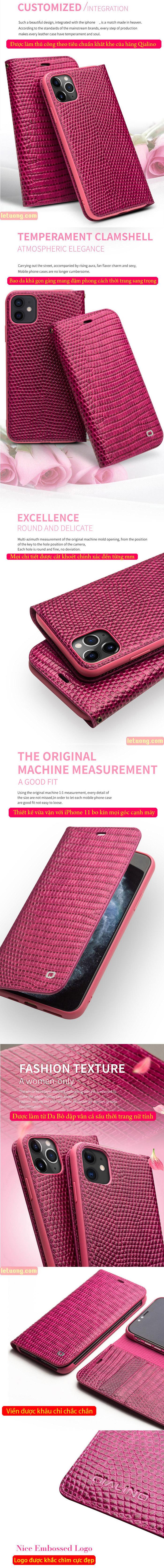 Bao da iPhone 12 / 12 Pro Qialino Crocodile Hanmade da thật 6