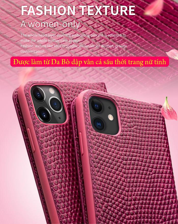 Bao da iPhone 12 / 12 Pro Qialino Crocodile Hanmade da thật 2
