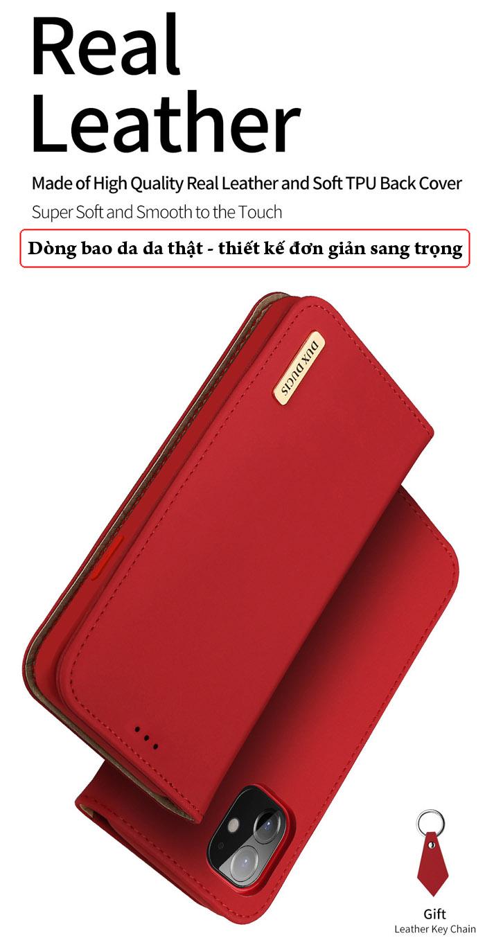 Bao da iPhone 12 Mini Dux Ducis Wish Genuine Leather Vintage cổ điển 1