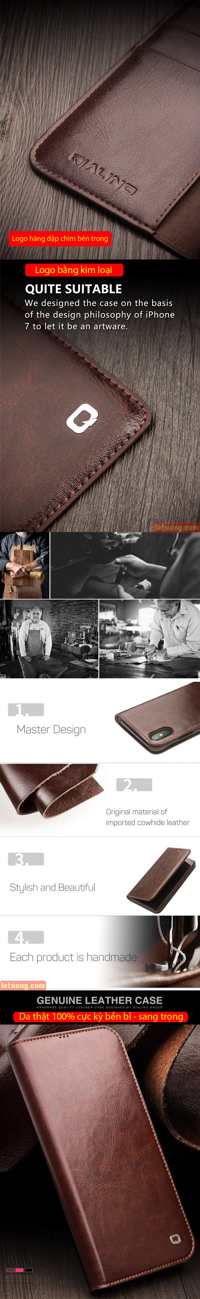 Bao da iPhone 12 Mini Qialino Classic Leather Hanmade da thật 7