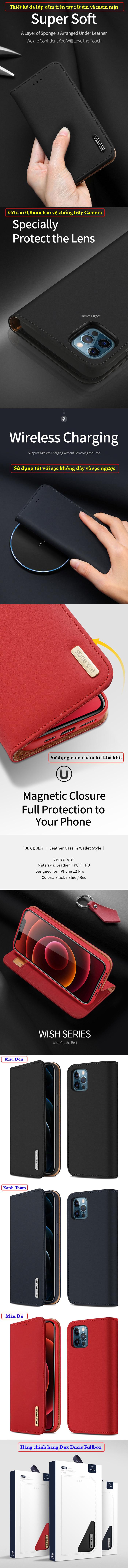 Bao da iPhone 12 Pro / 12 Dux Ducis Wish Genuine Leather Vintage cổ điển 5