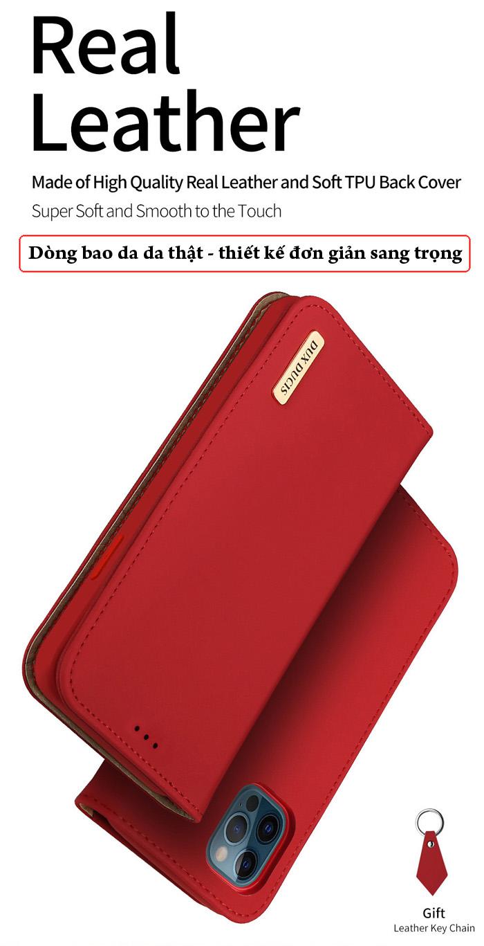 Bao da iPhone 12 Pro / 12 Dux Ducis Wish Genuine Leather Vintage cổ điển 1