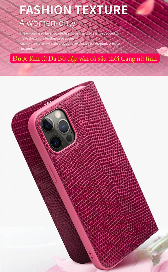 Bao da iPhone 12 Pro / iPhone 12 Qialino Crocodile Hanmade da thật 2