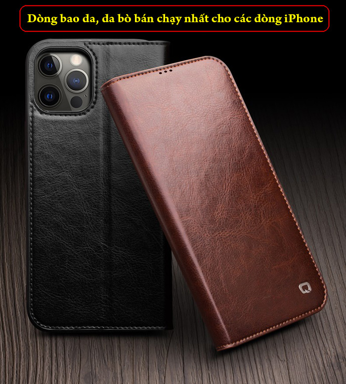 Bao da iPhone 12 Pro Max Qialino Classic Leather Hanmade da thật 4