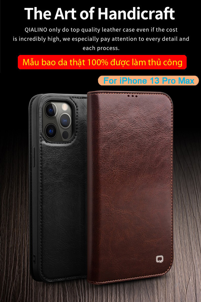 Bao da iPhone 13 Pro Max Qialino Classic Leather Hanmade da thật 1