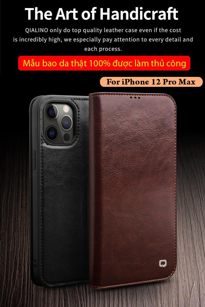 Bao da iPhone 12 Pro Max Qialino Classic Leather Hanmade da thật 1