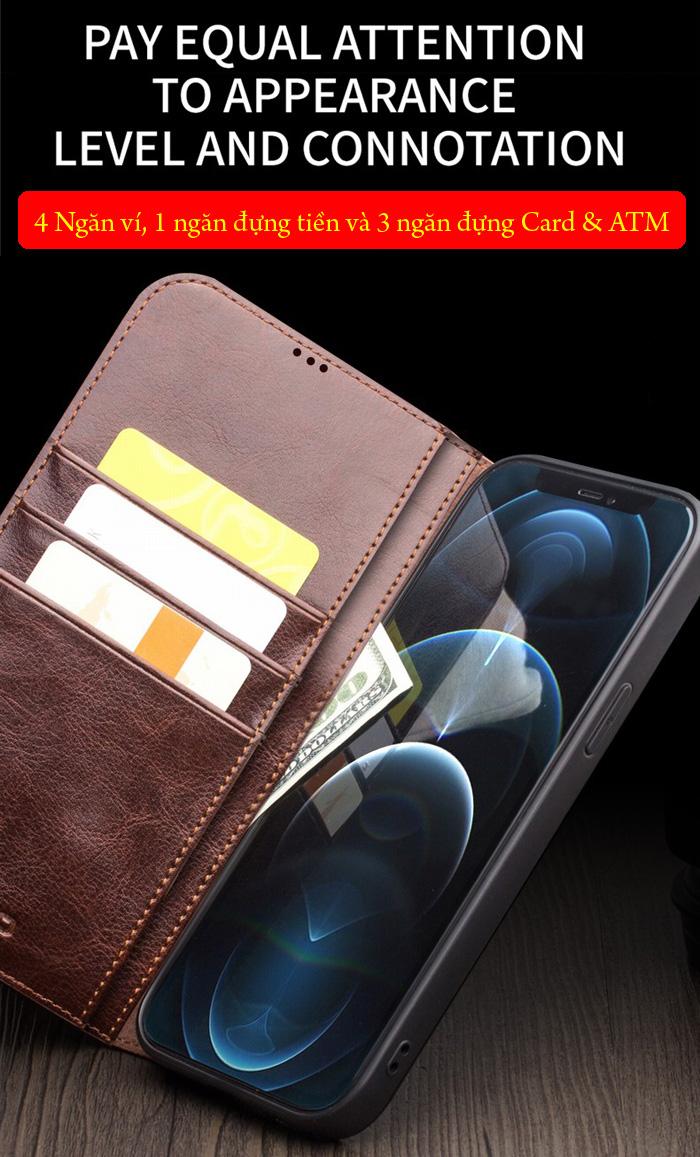 Bao da iPhone 12 Pro Max Qialino Classic Leather Hanmade da thật 3