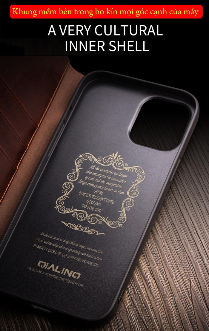 Bao da iPhone 12 Pro Max Qialino Classic Leather Hanmade da thật 2