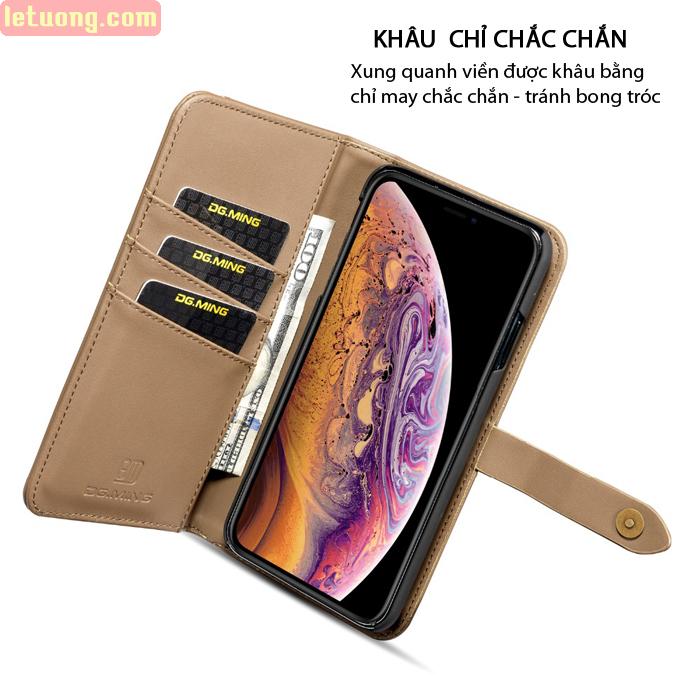 Bao da iPhone X / Xs DG.ming Genuine Leather 2 trong 1 cực đẹp 4