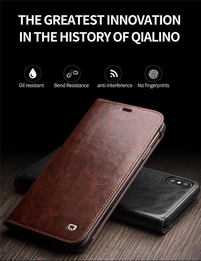 Bao da iPhone Xs Max Qialino Classic Leather Hanmade da thật 1