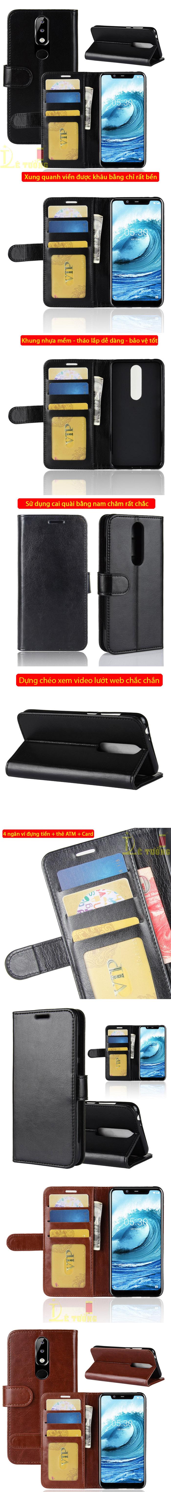 Bao da Nokia X5 LT Wallet Leather dạng ví đa năng - khung mềm 4