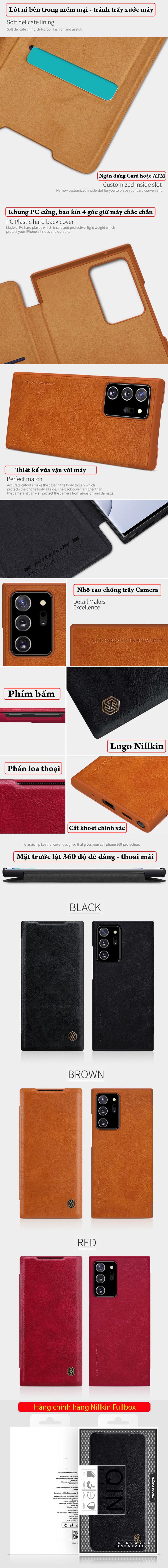 Bao da Note 20 Ultra / 5G Nillkin Qin Leather sang trọng - cổ điển 5