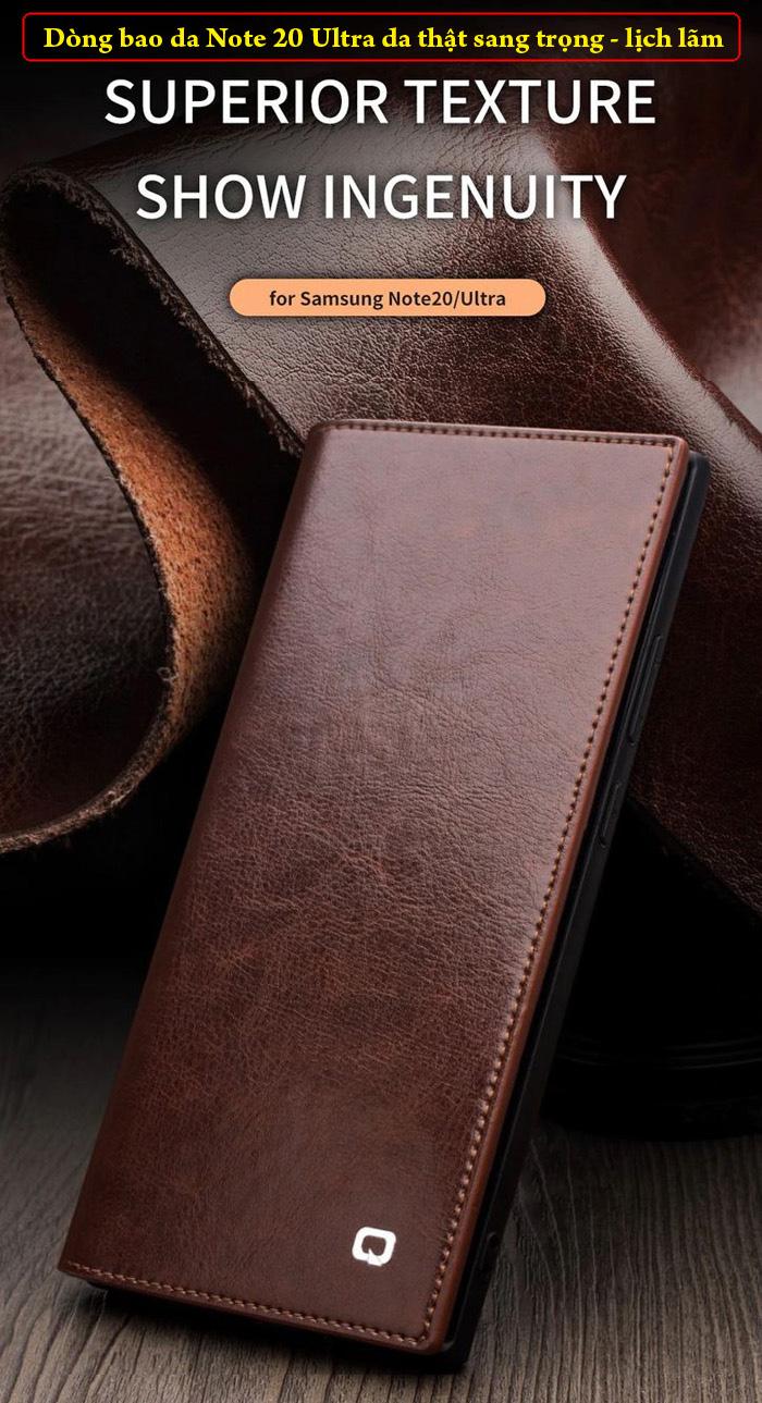 Bao da Note 20 Ultra / 5G Qialino Classic Leather Wallet da thật Hanmade