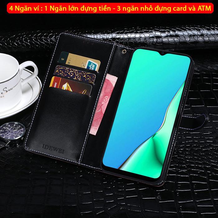 Bao da Oppo A9 2020 Idewei Flip Wallet Crocodile vân cá sấu - dạng ví đa năng 2