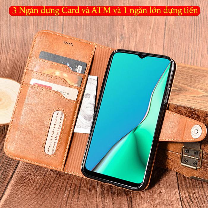 Bao da Oppo A9 2020 LT Wallet Retro dạng ví - khung mềm 2