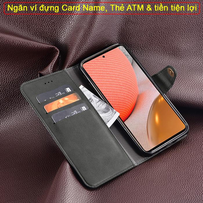 Bao da Samsung A72 5G iDewei Wallet Vintage Sang Trọng - Cổ điển 4