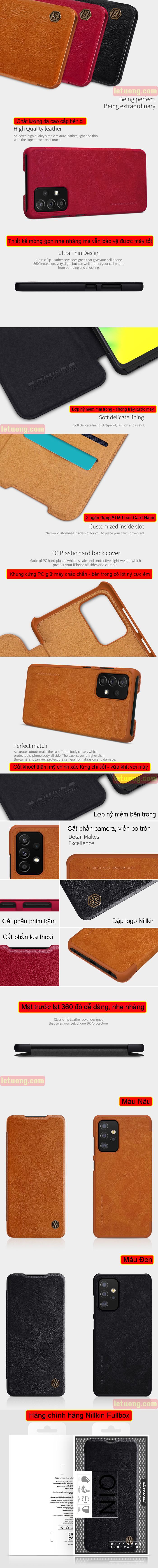 Bao da Samsung Galaxy A52, A52 5G Nillkin Qin Leather vân gỗ - cổ điển 2