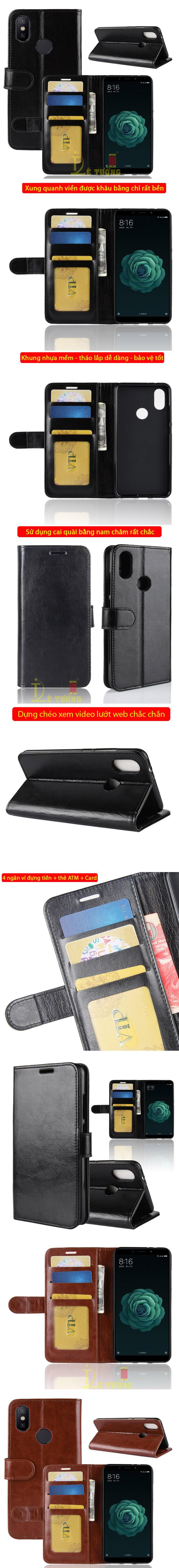Bao da Xiaomi Mi 6X / Mi A2 LT Wallet Leather dạng ví đa năng - khung mềm 4