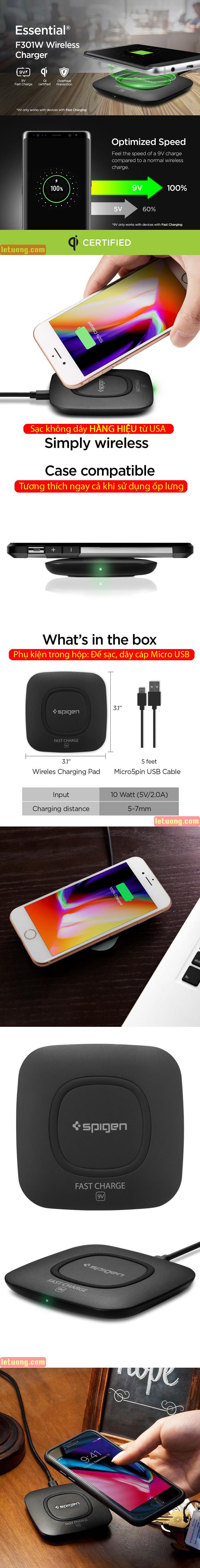 Đế sạc nhanh không dây Spigen Essential F301W Wireless Ultra Slim từ USA 6