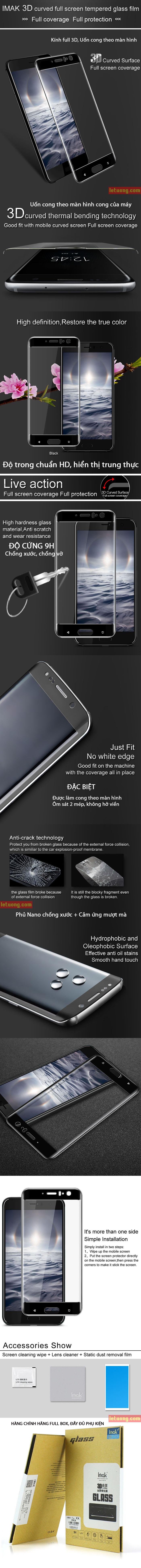Kính cường lực HTC U11 Imak 3D Edge Full cong theo màn hình 3