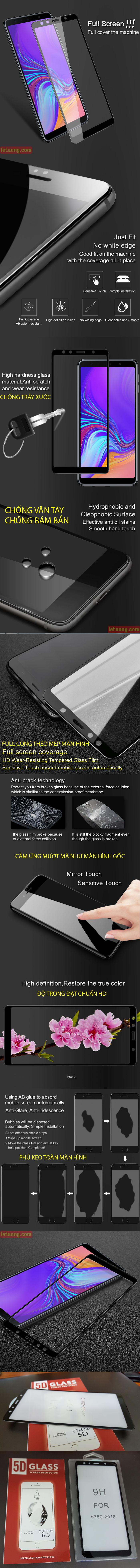 Kính cường lực Galaxy A7 2018 Glass Full Cover 5D Cong theo màn hình 5