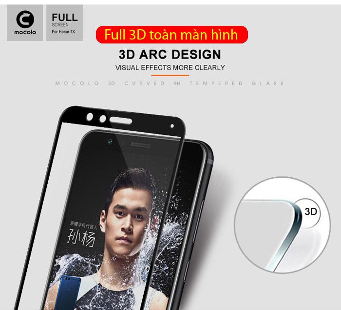 Kính cường lực Huawei Honor 7X Mocolo 3D Full Cover che toàn màn hình 1