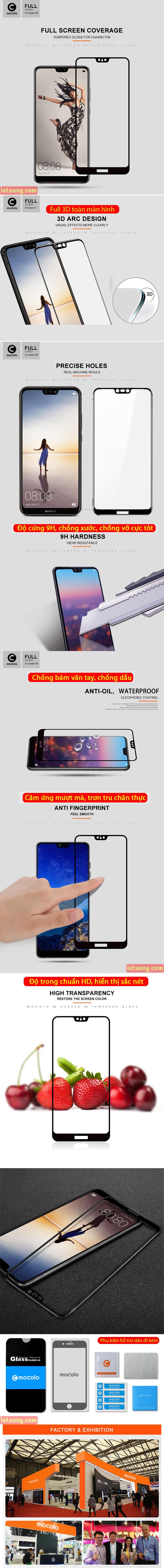 Kính cường lực Huawei Nova 3E Mocolo 3D Full Cover che toàn màn hình 4