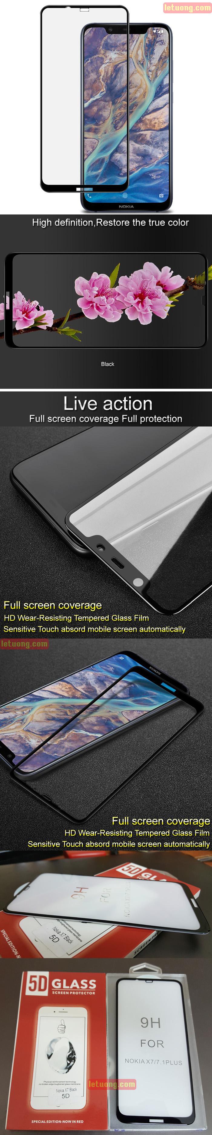 Kính cường lực Nokia 8.1 Glass Full 5D XỊN phủ keo toàn màn hình 2