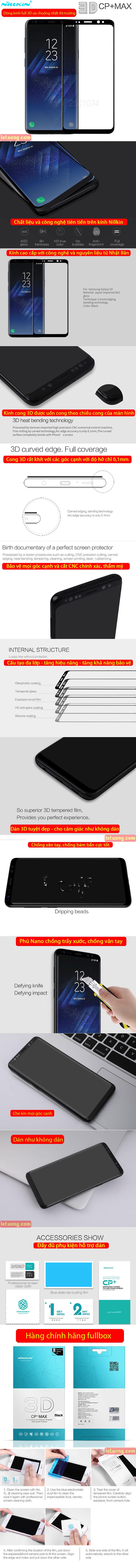 Kính cường lực Samsung Galaxy S9 Nillkin 3D CP+ Max full toàn màn hình 4