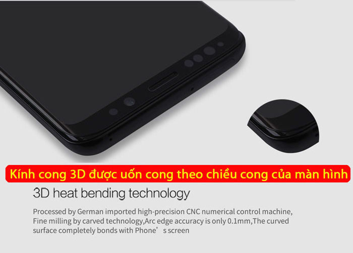 Kính cường lực Samsung Galaxy S9 Nillkin 3D CP+ Max full toàn màn hình 1