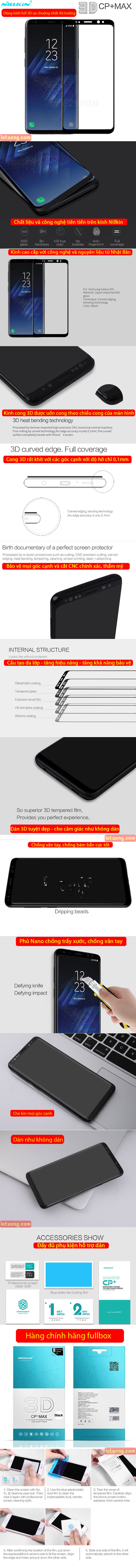 Kính cường lực Galaxy S9 Plus Nillkin 3D CP+ Max full toàn màn hình 5