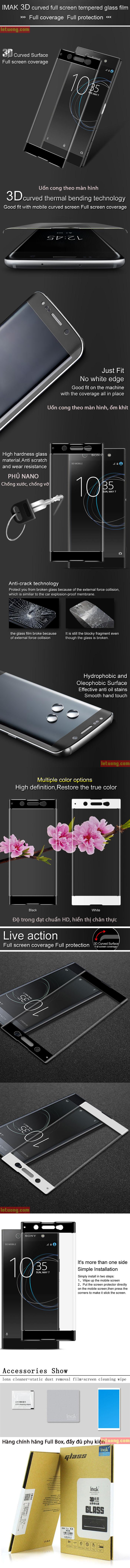 Kính cường lực Sony XA1 Ultra Imak 3D Edge full cong theo màn hình 3