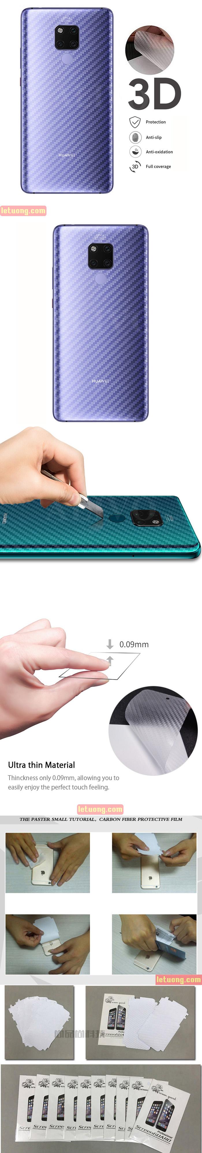 Miếng dán mặt lưng Huawei Mate 20 vân Carbon 3D - chống vân tay 1