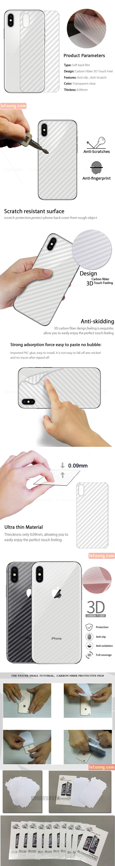 Miếng dán full mặt lưng iPhone Xs Max vân Carbon trong suốt - chống vân tay 1